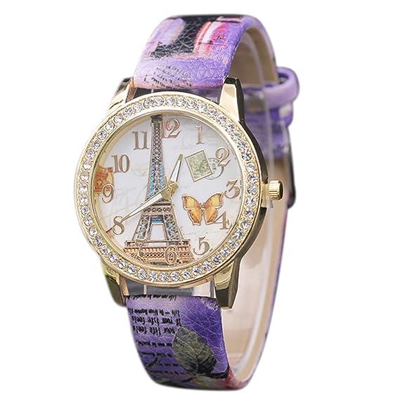 Reloj, poto 2017 nueva moda mariposa Torre patrón de cuero banda analógico cuarzo Vogue Relojes recargable: Amazon.es: Relojes