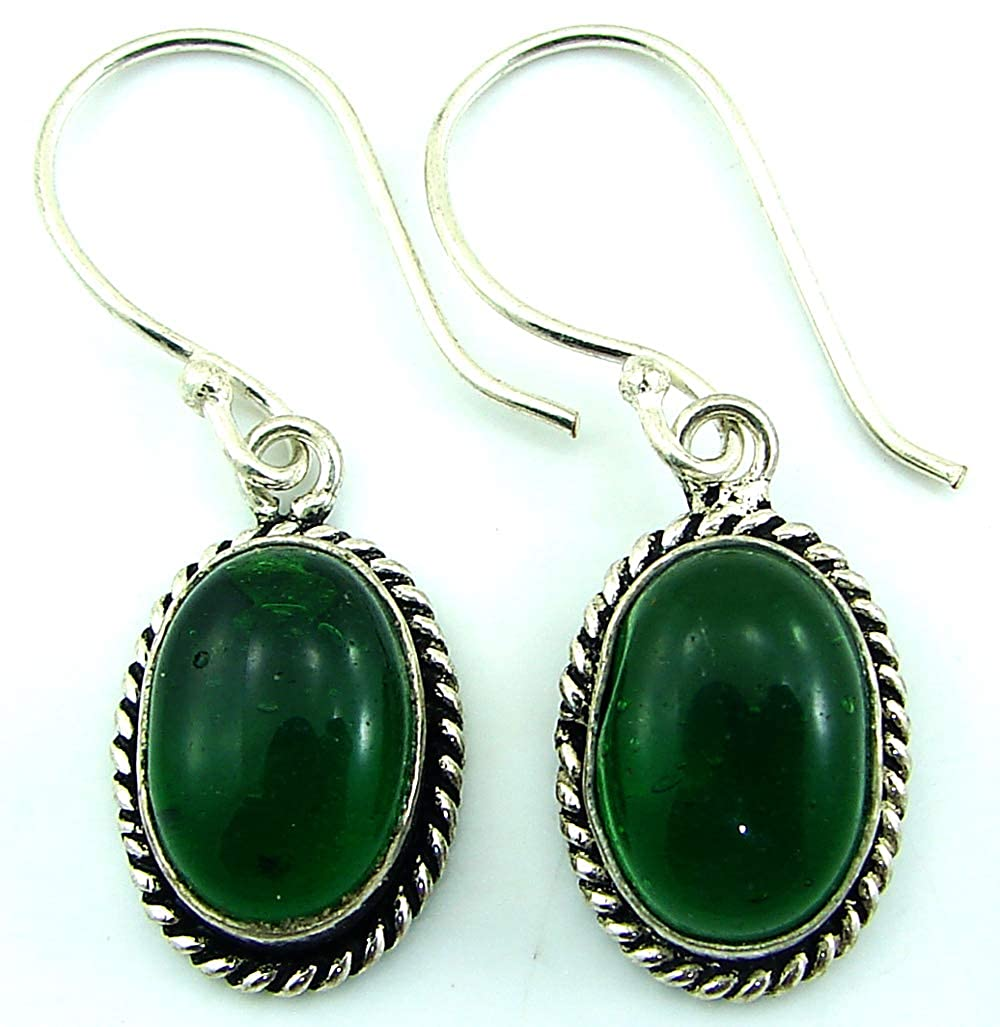 1453 925 Silver Plated Green Gemstone Earrings Danglers Girl Fashion Jewelry