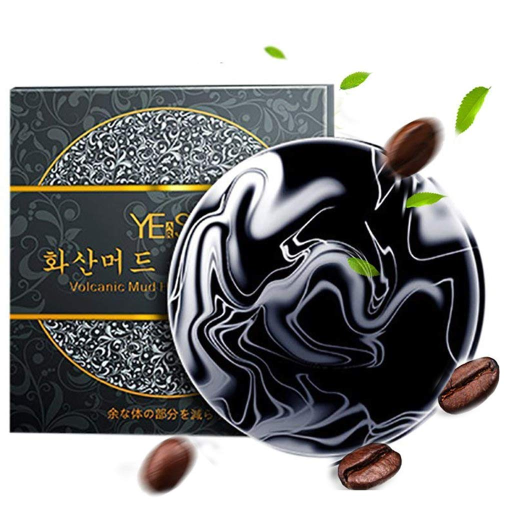 Volcanic Clay Coffee Slimming Soap Bar 60g, Handmade Deep Cleaning Oil Reshape Body, Anti Bacterial Skin Care Soap, 1pcs Soap and 5pcs Navel Stickers Gingbee
