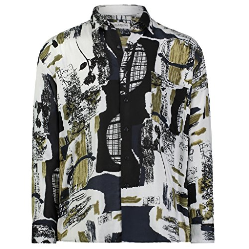 Gentlemens Collection Light-WeightBatik Modern Design Long-Sleeve- Tropical Hawaiian PrintedShirt Mystery 2-X ()