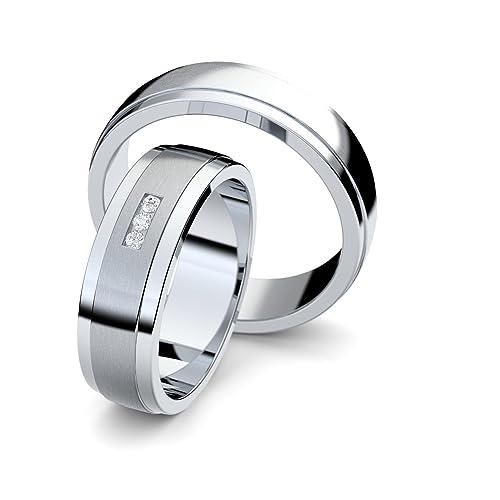 alianzas alianzas de anillos de compromiso Amistad Anillos Plata 925 * Incluye Luxus Funda * circonitas