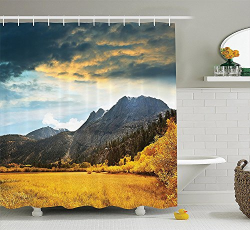 [Woodland Decor Collection Autumn in Mountain Golden Colored Grassland Sunlight Dark Cloudscape Image Print Polyester Fabric Bathroom Shower Curtain Set with Hooks Gray] (The Music Man Costumes For Sale)