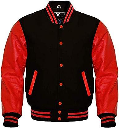 Original American Varsity Letterman Bomber College Baseball Men Black Wool Jackets Red Leather Sleeves