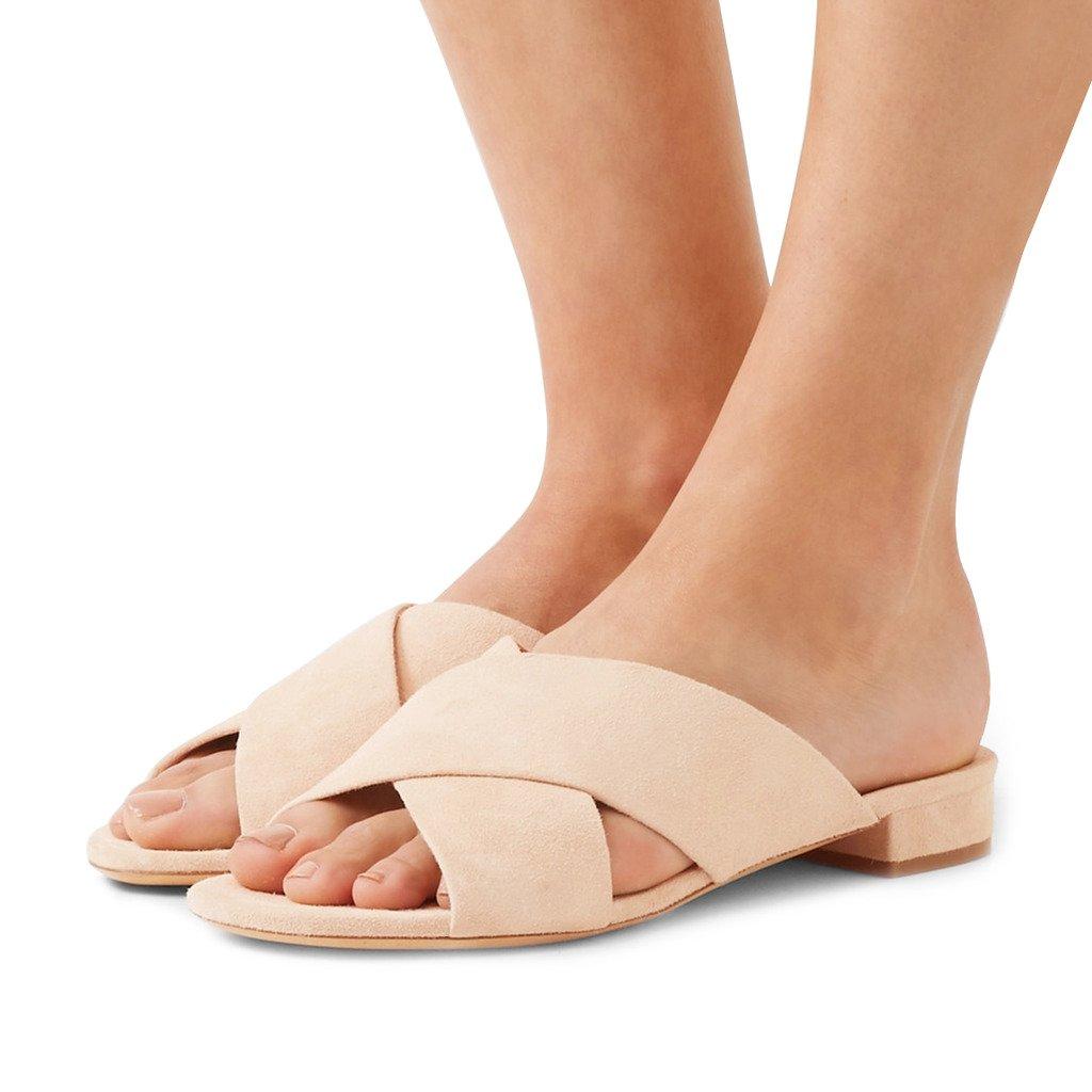 FSJ Women Comfortable Cross Strap Sandals Low Heels Mules Slide Casual Flats Shoes Size 4-15 US B077SNFPNQ 11 B(M) US|Beige