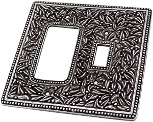 Vicenza Designs WPJ7014 San Michele Wall Plate with Jumbo Toggle and Dimmer Opening, Vintage Pewter