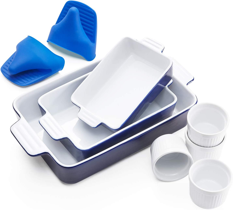 Vexilsy Baking Dish Set, Ceramic Bakeware Set Includes 3 Rectangular Nonstick Casserole Dish, 4 Ramekins, Silicone Double Finger Grip, Baking Pans for Lasagna Pan,Cooking,Cake, Dinner,Daily Use (blue)