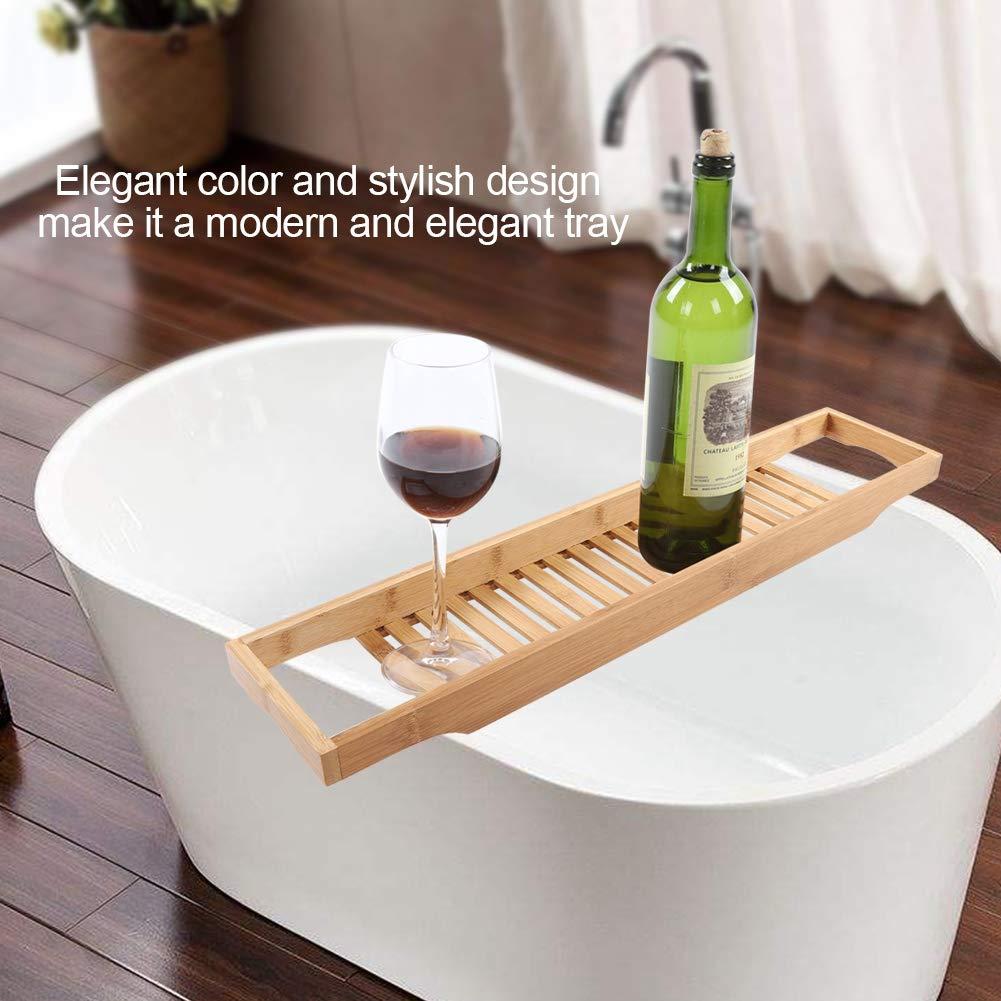 Cocoarm Bathtub Caddy Bathtub Tray Rack Over Bath Tray Bamboo Bath Caddy Tray Bathroom Storage Stand Tray Tub Shower Caddy Wine Glass Holder