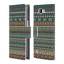 Head Case Designs Blue Amerindian Pattern Leather Book Wallet Case Cover For LG V10