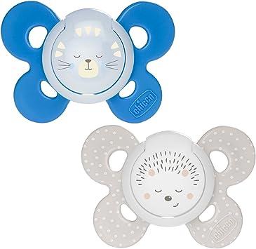 Chicco Physio Comfort - Pack de 2 chupetes de silicona 16-36 m, color azul (diseños surtidos): Amazon.es: Bebé