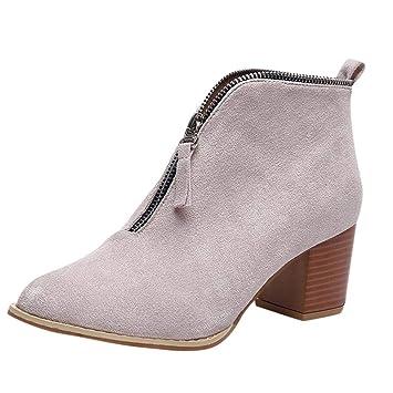Logobeing Tacones Mujer Plataforma Zapatos Botines de Tacon Mujer Invierno Cómodo Altas Boots Moda 2018 Botas Altos Cuña Zapatos de Tacón Mujer(35,Beige): ...
