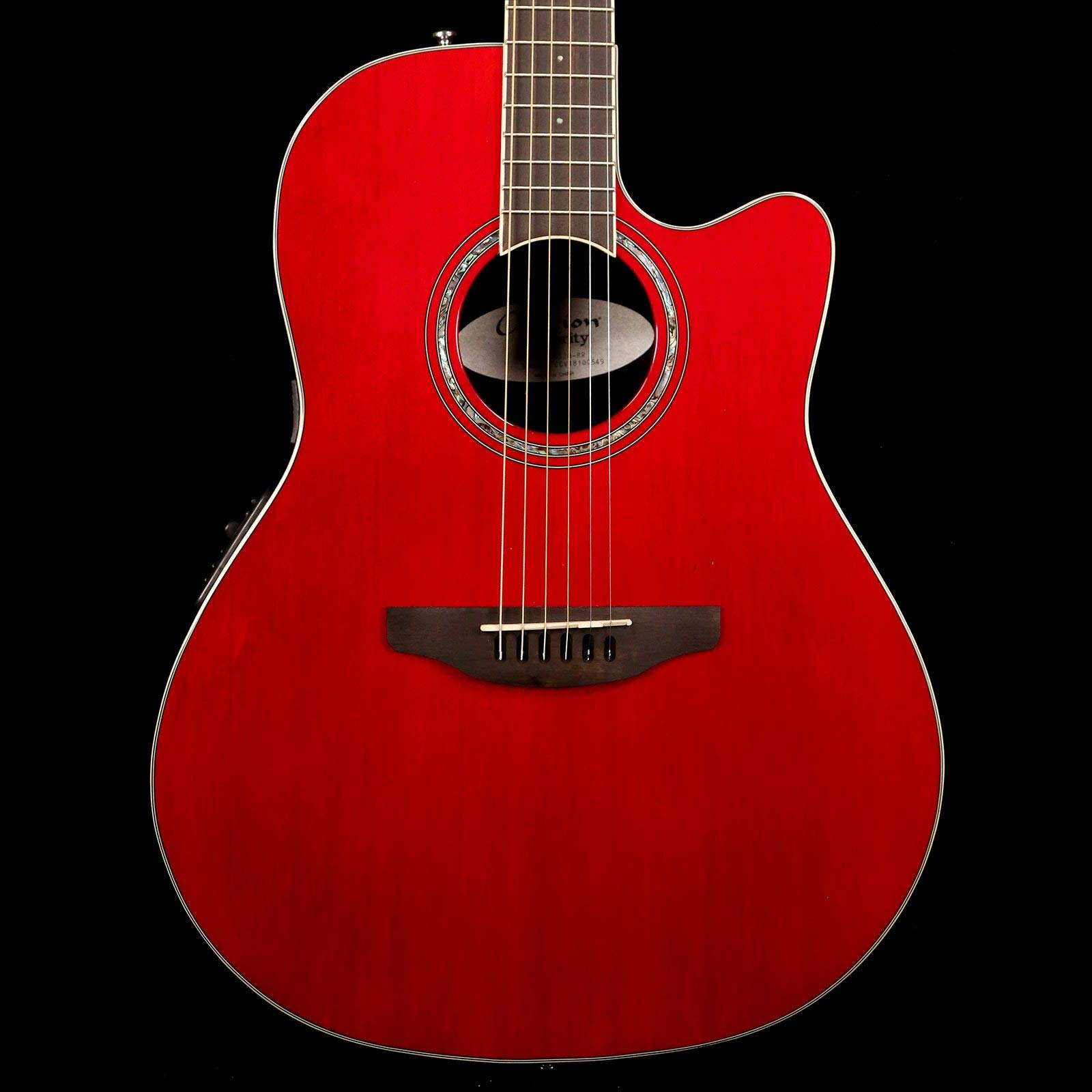 Ovation Celebrity Standard Solid Spruce Top Acoustic-Electric Guitar, Ruby Red by Ovation