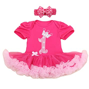 100 Cotton Baby Girl 1st Birthday Party Dress Tutu Rose Pink Xl