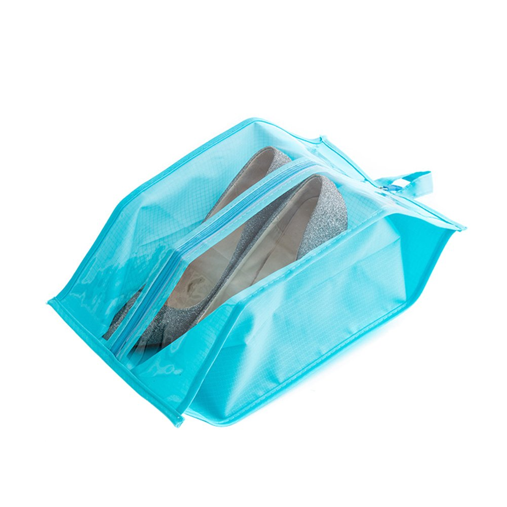 Bluelans Clear Window Travel Shoes Washable Dustproof Zippered Portable Storage Bag Pouch