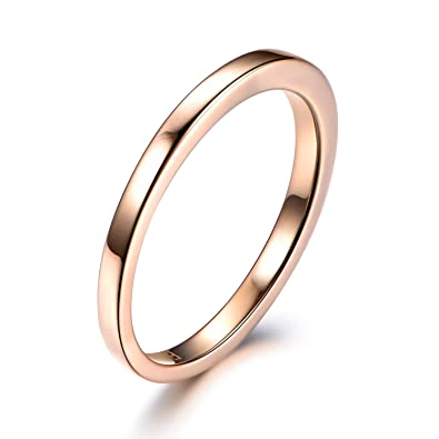 Amazon Com Solid 14k Rose Gold Wedding Band Stacking Ring Plain