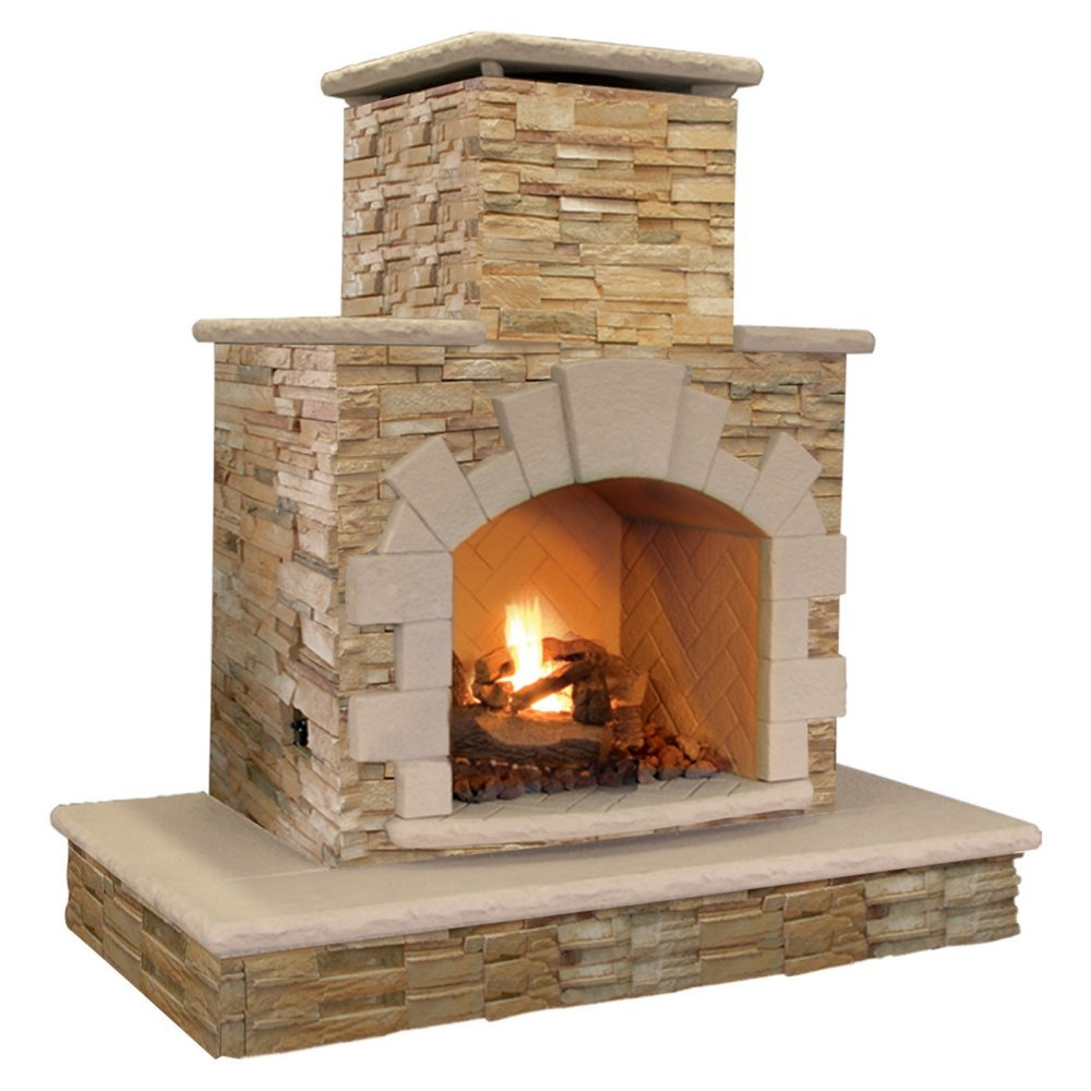 Amazon Com Calflame Natural Stone Propane Gas Outdoor Fireplace