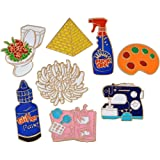 Niome Cute Cartoon Palette Pigment Sewing Machine Flower Badge Corsage T-shirt Collar Pins Jewelry Decorations Accessories