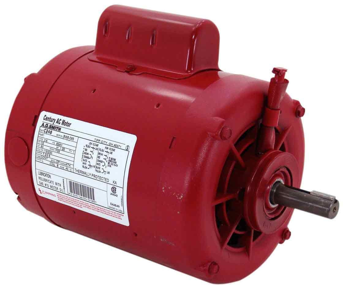 1725-RPM Century C241 Water Circulator 1//2-HP Sleeve Bearing Motor 9.6-Amp 6-1//2-Inch Frame Diameter 115//230-Volt