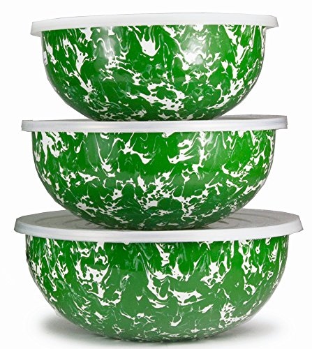 (Enamelware - Green Swirl Pattern - Set of 3 Mixing Bowls with Lids)
