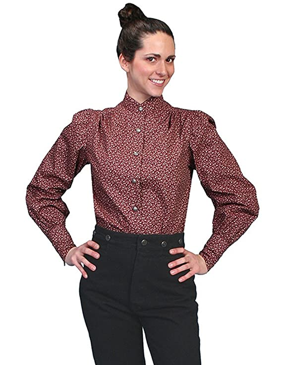 Victorian Blouses, Tops, Shirts, Sweaters Scully Western Shirt Womens Long Sleeve Floral Print Button RW592 $52.00 AT vintagedancer.com