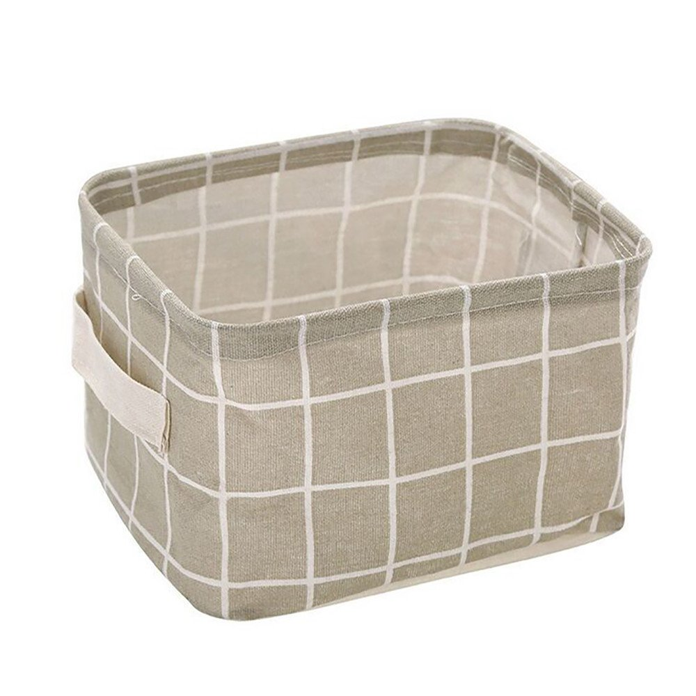 Foldable Storage Bins Basket Cube Containers, E-Scenery Mini Linen Storage Organizers with Strong Handles for Home Closet Office Clothes Shoe Baby Toys, 8 x 6 x 5 inches (Gray)