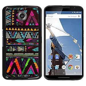 FlareStar Colour Printing Chevron Native American Pattern Black cáscara Funda Case Caso de plástico para Motorola NEXUS 6 / Moto X / Moto X Pro
