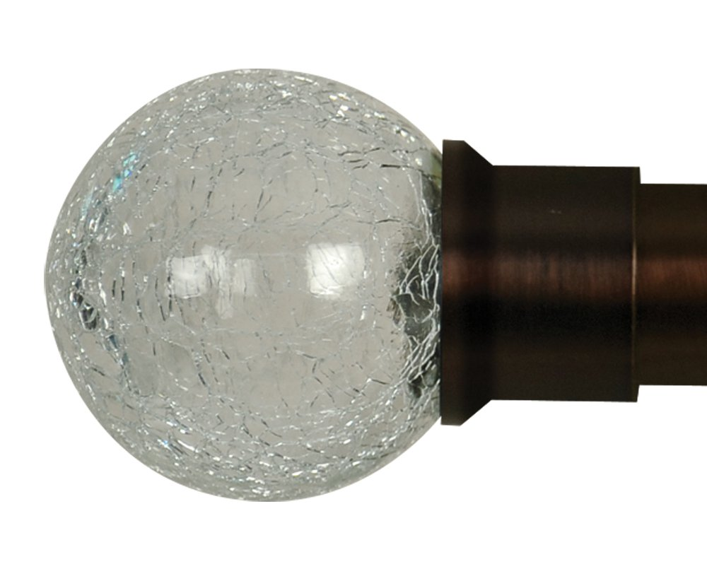 Home Decor Int'l HDI Crackle Glass Ball Finials, Oil Rubbed Bronze, Set of 2