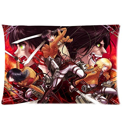Ulive Hot Attack On Titan Adorable Zippered Rectangle Pillow Cases Best Christmas Gift 20X30 Inch 2 Sides