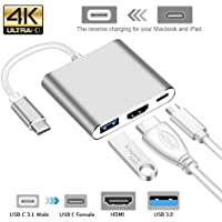 Alexvyan 1 Pcs 3 in 1 Hub 4K Adapter USB-C to HDMI Converter with 3.0 and Type C 3.1 Female Charging Port for MacBook, Surface Book, Apple (Silver)