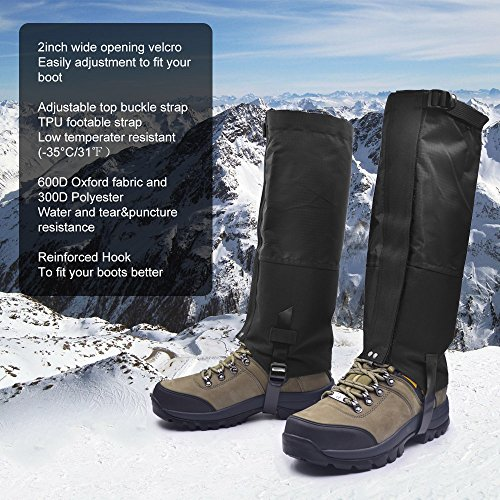 Leanking Leg Gaiters, Waterproof Snow Boot Gaiters 600D Anti-Tear Oxford Fabric Outdoor Waterproof Snow Leg Gaiters for Outdoor Hiking Walking Hunting Climbing Mountain (Black, L) by Leanking (Image #4)