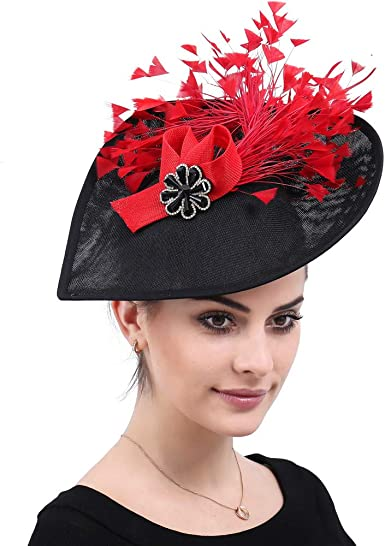 Red Handmade Tiara Red Fascinator Top Hat for Women Elegant Tea Party Hat Derby Hat Church Hat with Feather 5-Colors