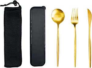 3Pcs Utensils Set, Stainless Steel Gold-plate Travel Reusable Utensil with Case Sets for School Office Camping, Including Spoon fork and knife - Gold