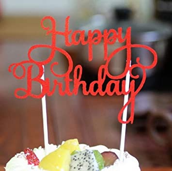 Happy Birthday Cake Topper Calligraphy Glitter Pick Red