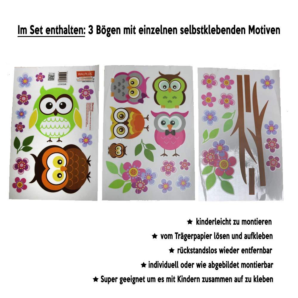 Amazon.de: denoda Eulen, Äste und Blumen - Wandsticker (Owl Wanddekoration  Wohndeko Kinderzimmer