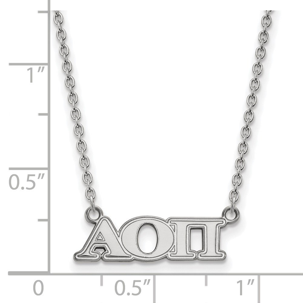 21mm Solid 925 Sterling Silver Alpha Omicron Pi Medium Pendant with Necklace