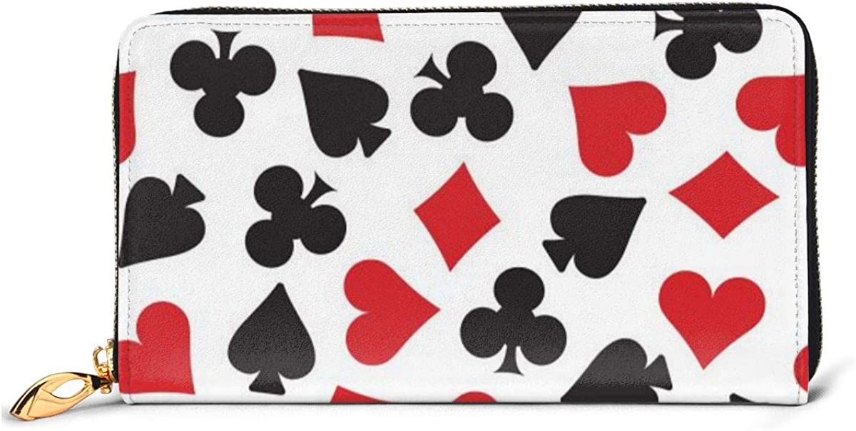 Playing Card Suit Casino Pattern Womens RFID Blocking Zip Around Wallet Genuine Leather Clutch Long Card Holder Organizer Wallets Large Travel Purse