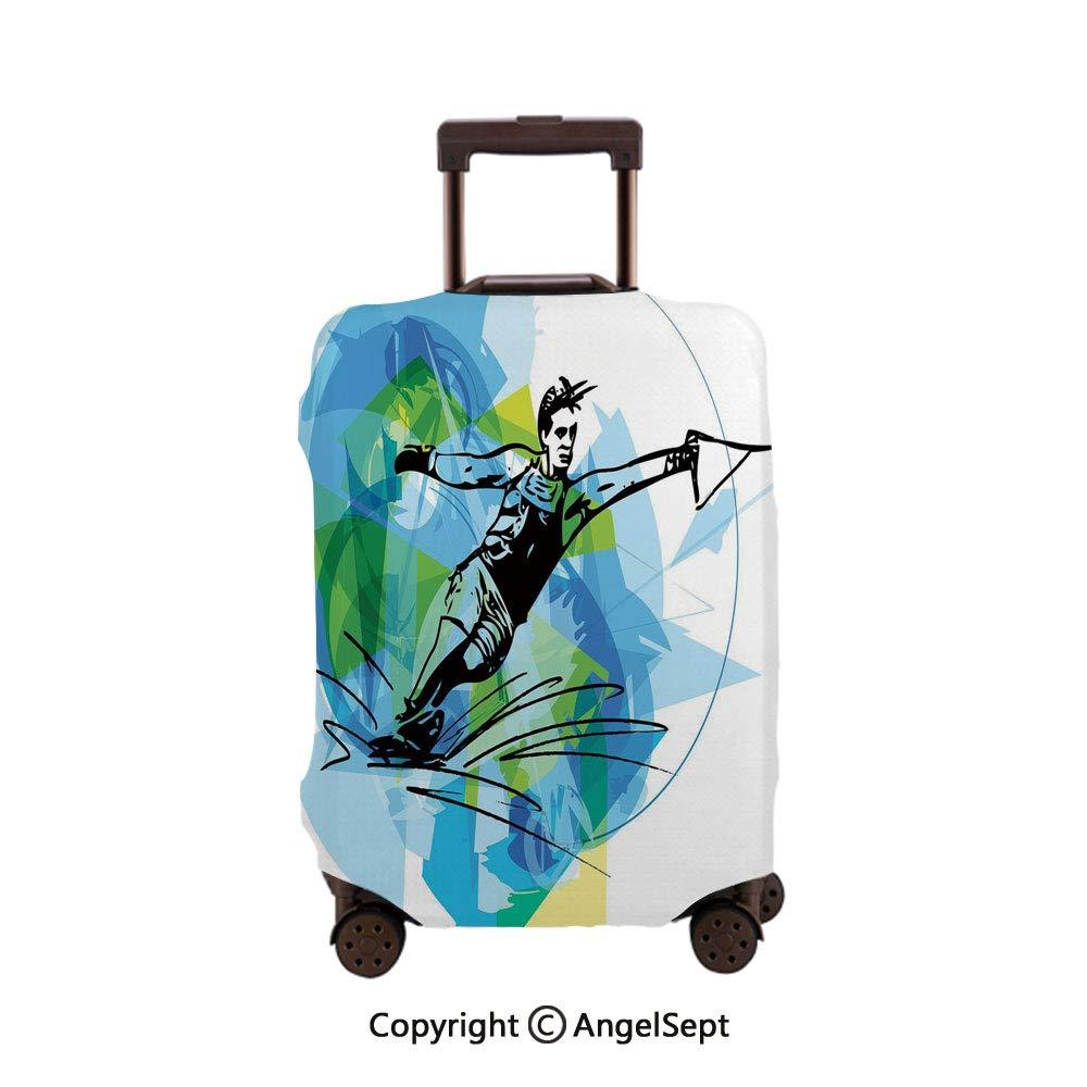 Fashion Travel Suitcase Protector Zipper,Man Athlete Water Ski Energic Dynamic Exotic Motivational Hobby Activity Blue Black,26x37.8inches,Washable Print Luggage Cover