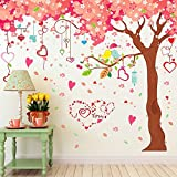Kaimao Extra Huge DIY Romantic Pink Sakura & Large Tree Wall Decals Removable Wall Stickers for Home, Girls, Living Room