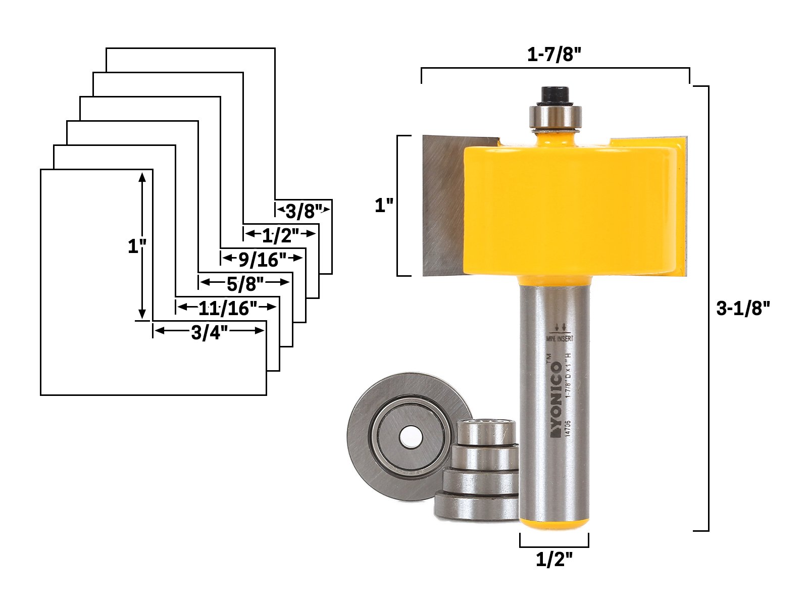 Yonico 14706 Rabbet Router Bit & Bearing Set with 1/2'' Shank