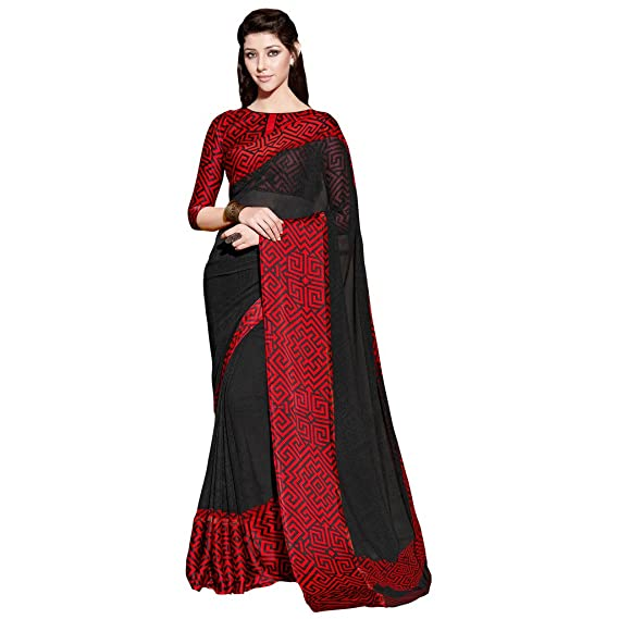 164f96d923 Applecreation Women'S Georgette With Satin Patta Saree With Blouse Piece  (Black + Red_Free Size ): Amazon.in: Clothing & Accessories