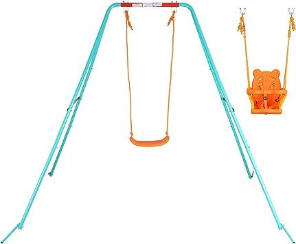 Yorbay Columpio Infantil con balancín Columpio para jardín (Bebés/ Infantiles 2 en 1): Amazon.es: Juguetes y juegos