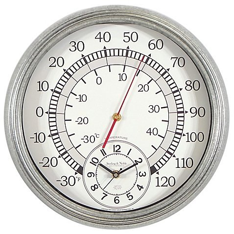 (Sterling & Noble Wall Clock with Built-in Thermometer Galvanized Metal)