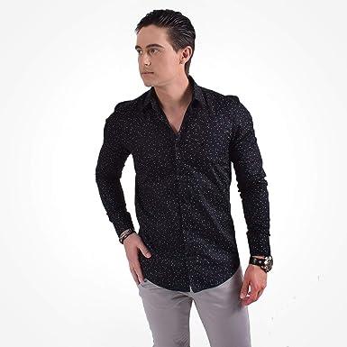12550c3f51 Camisa Social Masculina Slim Preta Estampada 100237  Amazon.com.br ...