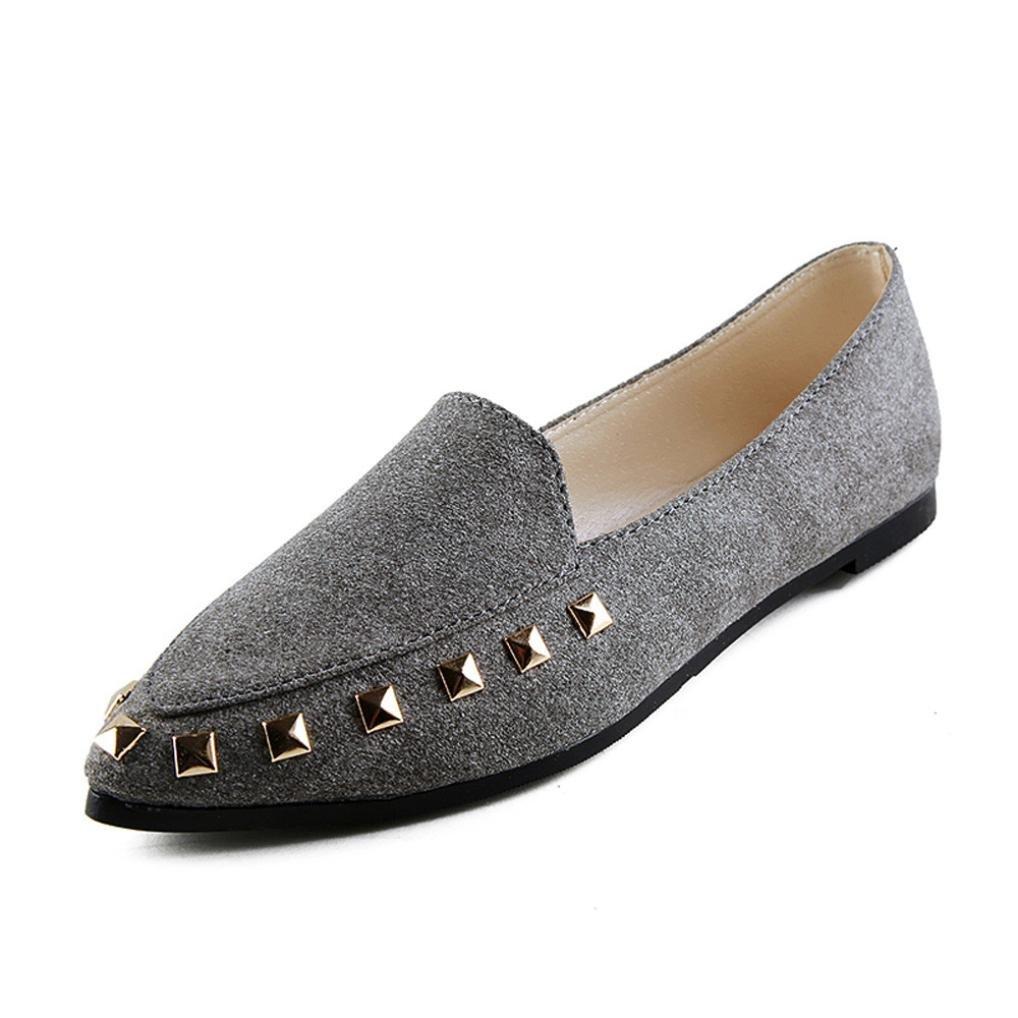 LuckyGirls Chaussures De De Bateau De Rivet Rivet De Femme Mode, De Mode, Dames Douces Confortables Chaussures De Plat Occasionnelles Gris 947eeb5 - automaticcouplings.space