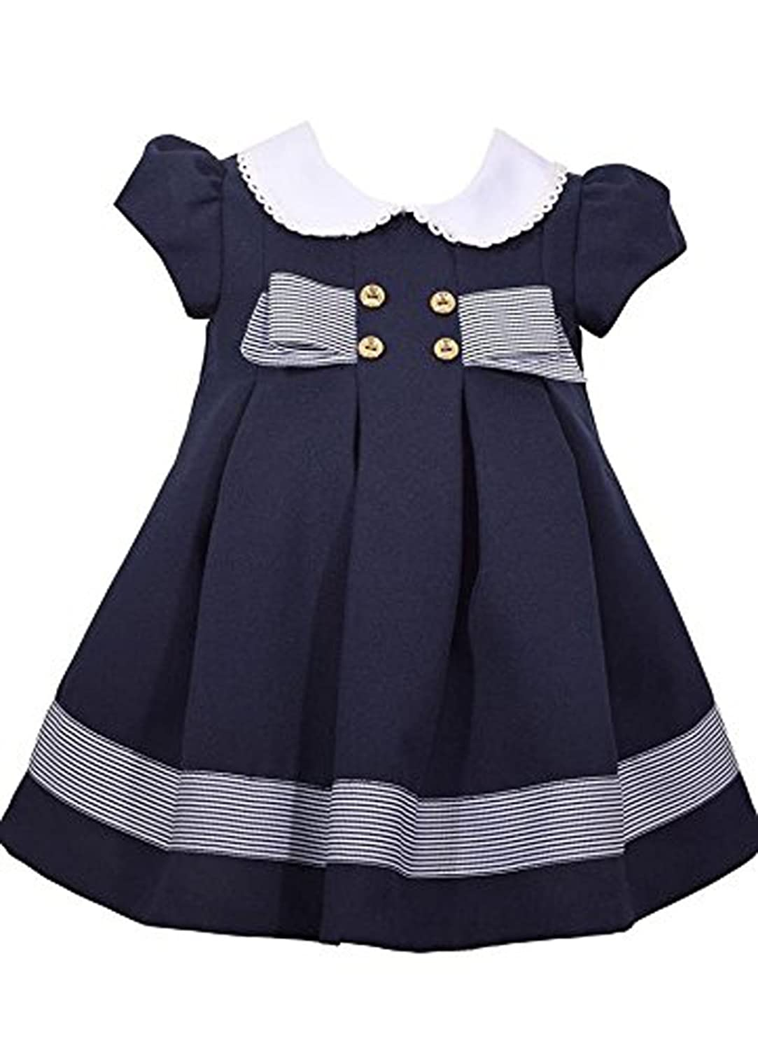 Bonnie Jean Navy Blue Nautical Theme Dress With Gold Buttons