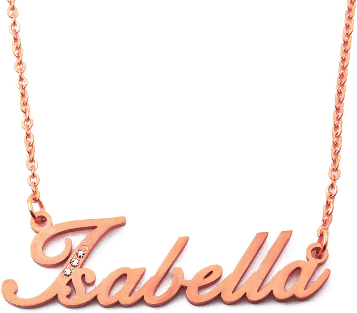Crystals Kigu Italic Name Necklace Isabella 18ct Rose Gold Plated Incl