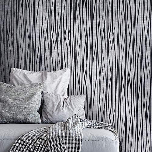 Flocked Wallpaper Gray Silver Metallic Textured Flocking Velvet Flock wave Lines