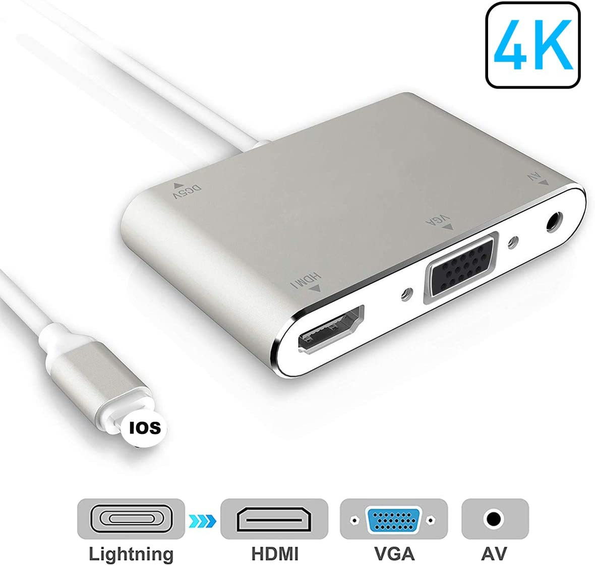 Silver HDMI VGA AV Adapter Converter 2020 Latest 4 in 1 Plug and Play Digtal AV Adapter Compatible for i-Phone X 8 8Plus//7//7Plus//6//6s//6s Plus//5//5s i-Pad i-Pod to HDTV Projector Monitor