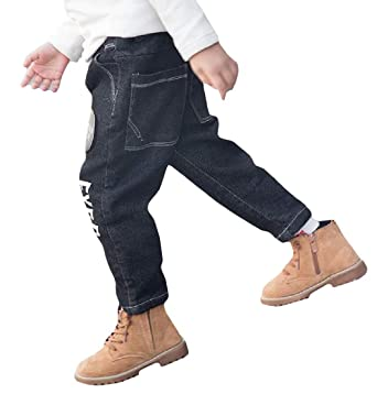 01c8d33aa24 Amazon.com  Lutratocro Boys Solid Fleece Denim Jeans Letter Print ...