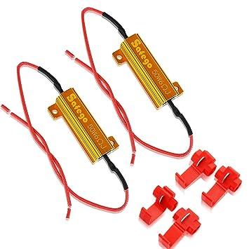Safego 2 x 50W 6ohm Resistencias Intermitentes LED luces de giro Para corregir el código de error LED SMD: Amazon.es: Coche y moto