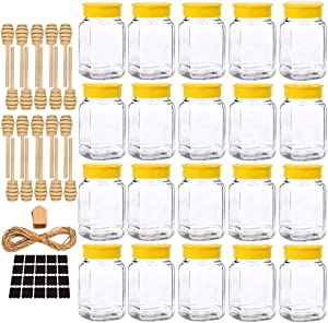 Folinstall 20 Pcs 12 oz Glass Honey Jar with Lids, Honey Containers for Storing and Dispensing Honey on Your Favorite Foods or Drinks, Extra Chalkboard Label, Tag Strings and 20 Honey Dipper Included